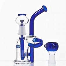 Бонг Grace Glass Saxo Bubbler Recycler Blue
